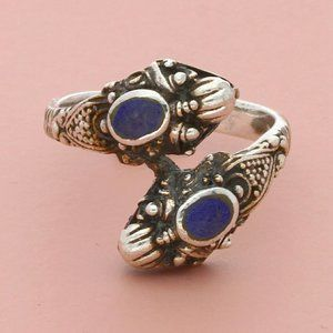 sterling silver vintage bali lapis dragons ring